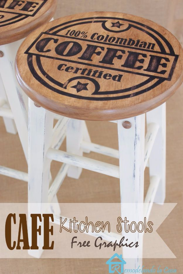 DIY Barstools - Painted Kitchen Stools - Easy and Cheap Ideas for Seating and Creative Home Decor - Do It Yourself Bar Stools for Modern, Rustic, Farmhouse, Shabby Chic, Industrial and Simple Classic Decor - Do It Yourself Dining Room Seating Complete With Step by Step Tutorials http://diyjoy.com/diy-barstools