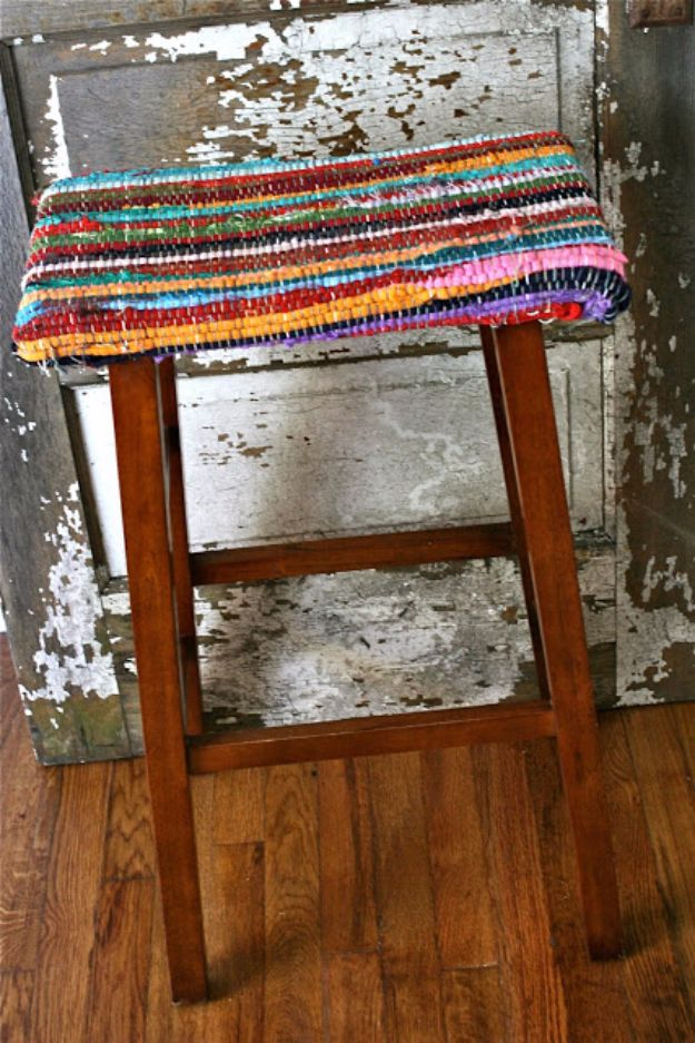 DIY Barstools - Rag Rug Stools - Easy and Cheap Ideas for Seating and Creative Home Decor - Do It Yourself Bar Stools for Modern, Rustic, Farmhouse, Shabby Chic, Industrial and Simple Classic Decor - Do It Yourself Dining Room Seating Complete With Step by Step Tutorials http://diyjoy.com/diy-barstools