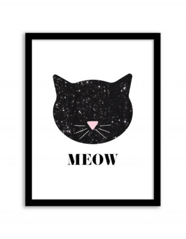 Free Printables For Your Walls - Sequin Cat Wall Art - Best Free Prints for Wall Art and Picture to Print for Home and Bedroom Decor - Ideas for the Home, Organization - Quotes for Bedroom and Kitchens, Vintage Bathroom Pictures - Downloadable Printable for Kids - DIY and Crafts by DIY JOY http://diyjoy.com/free-printables-walls