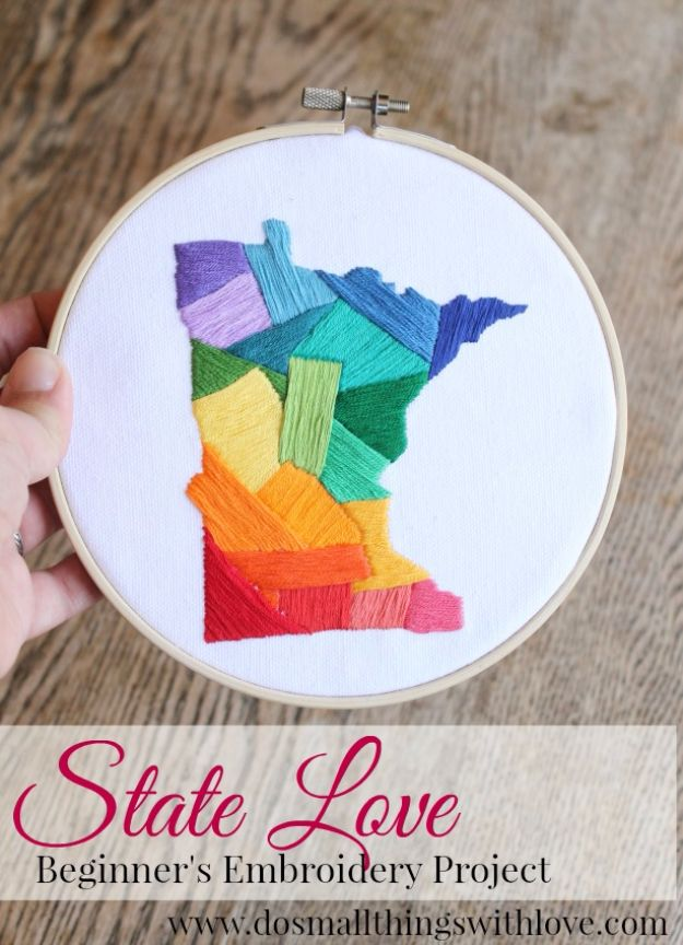 Free Embroidery Patterns - State Love Embroidery DIY - Best Embroidery Projects and Step by Step DIY Tutorials for Making Home Decor, Wall Art, Pillows and Creative Handmade Sewing Gifts - Machine Ideas and Hand Sewn Ideas for Beginners - Quotes, Modern Art, Flowers, Christmas Decor, Kitchen Towels and Easy Applique Designs http://diyjoy.com/free-embroidery-patterns