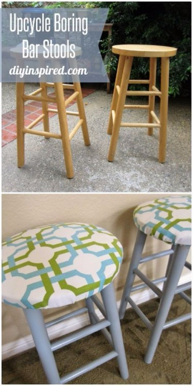 DIY Barstools - Upcycled Bar Stools - Easy and Cheap Ideas for Seating and Creative Home Decor - Do It Yourself Bar Stools for Modern, Rustic, Farmhouse, Shabby Chic, Industrial and Simple Classic Decor - Do It Yourself Dining Room Seating Complete With Step by Step Tutorials http://diyjoy.com/diy-barstools