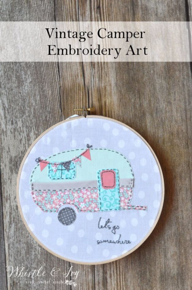 Free Embroidery Patterns - Vintage Camper Embroidery - Best Embroidery Projects and Step by Step DIY Tutorials for Making Home Decor, Wall Art, Pillows and Creative Handmade Sewing Gifts - Machine Ideas and Hand Sewn Ideas for Beginners - Quotes, Modern Art, Flowers, Christmas Decor, Kitchen Towels and Easy Applique Designs http://diyjoy.com/free-embroidery-patterns