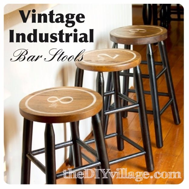 DIY Barstools - Vintage Industrial Bar Stools - Easy and Cheap Ideas for Seating and Creative Home Decor - Do It Yourself Bar Stools for Modern, Rustic, Farmhouse, Shabby Chic, Industrial and Simple Classic Decor - Do It Yourself Dining Room Seating Complete With Step by Step Tutorials http://diyjoy.com/diy-barstools