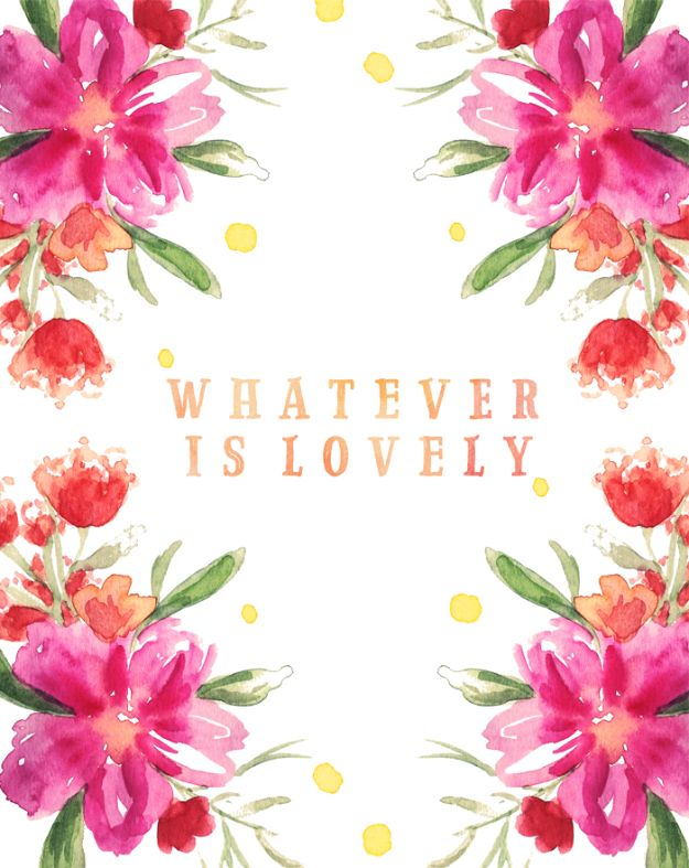Free Printables For Your Walls - Whatever Is Lovely Free Printable - Best Free Prints for Wall Art and Picture to Print for Home and Bedroom Decor - Ideas for the Home, Organization - Quotes for Bedroom and Kitchens, Vintage Bathroom Pictures - Downloadable Printable for Kids - DIY and Crafts by DIY JOY http://diyjoy.com/free-printables-walls