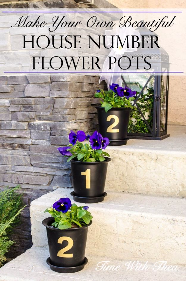 Best Country Decor Ideas for Your Porch - Beautiful House Number Flower Pots - Rustic Farmhouse Decor Tutorials and Easy Vintage Shabby Chic Home Decor for Kitchen, Living Room and Bathroom - Creative Country Crafts, Furniture, Patio Decor and Rustic Wall Art and Accessories to Make and Sell http://diyjoy.com/country-decor-ideas-porchs