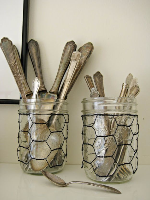 Best DIY Ideas With Chicken Wire - Chicken Wire Glass Jar Sleeves - Rustic Farmhouse Decor Tutorials With Chickenwire and Easy Vintage Shabby Chic Home Decor for Kitchen, Living Room and Bathroom - Creative Country Crafts, Furniture, Patio Decor and Rustic Wall Art and Accessories to Make and Sell http://diyjoy.com/diy-projects-chicken-wire
