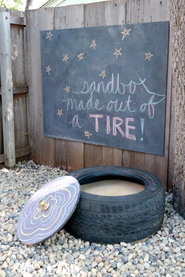 DIY Ideas With Old Tires - Easy DIY Tire Sandbox - Rustic Farmhouse Decor Tutorials and Projects Made With An Old Tire - Easy Vintage Shelving, Wall Art, Swing, Ottoman, Seating, Furniture, Gardeing Ideas and Home Decor for Kitchen, Living Room, Bathroom and Backyard - Creative Country Crafts, Rustic Wall Art and Accessories to Make and Sell http://diyjoy.com/diy-projects-old-tires