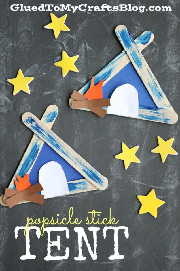 DIY Ideas for Kids To Make This Summer - Popsicle Stick Tent - Fun Crafts and Cool Projects for Boys and Girls To Make at Home - Easy and Cheap Do It Yourself Project Ideas With Paint, Glue, Paper, Glitter, Chalk and Things You Can Find Around The House - Creative Arts and Crafts Ideas for Children http://diyjoy.com/diy-ideas-kids-summer