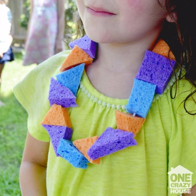DIY Hacks for Summer - Summer Sponge Lei - Easy Projects to Try This Summer To Get Organized, Spend Time Outdoors, Play With The Kids, Stay Cool In The Heat - Tips and Tricks to Make Summertime Awesome - Crafts and Home Decor by DIY JOY http://diyjoy.com/diy-hacks-summer