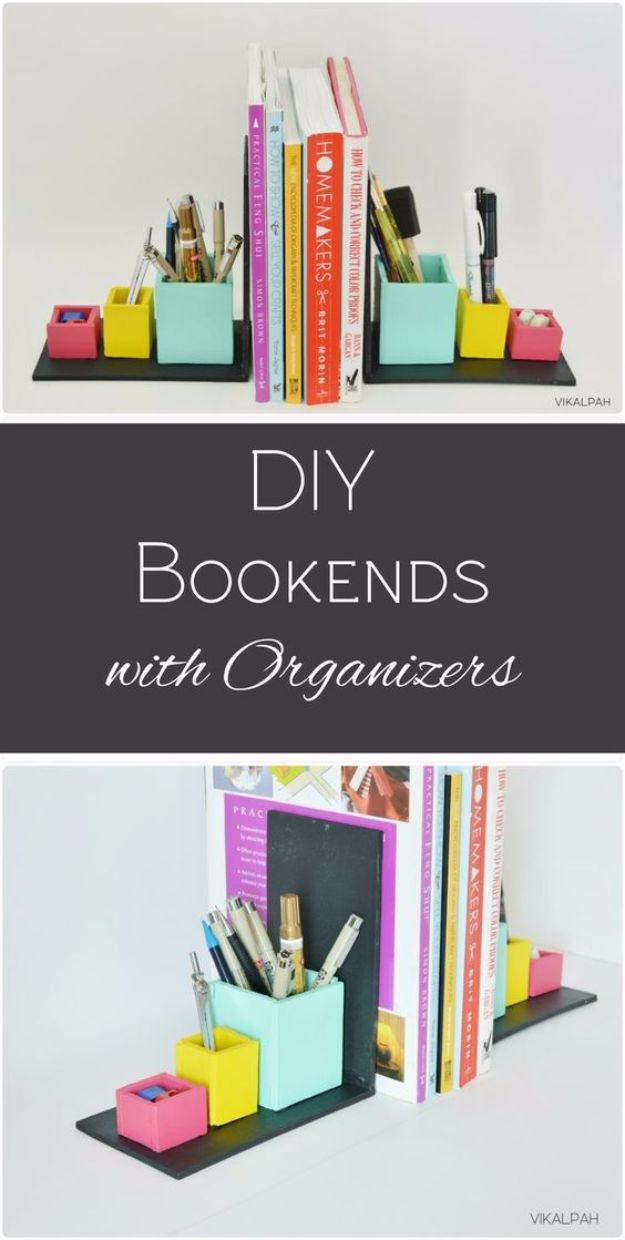 DIY Projects for Readers - DIY Bookends with Organizers - Book Storage, Bookmarks, Cool Bookshelves, Creative Projects Made With Books and For Book Lovers - Reading Lights, Bedside Table Ideas - Easy Crafts and DIY Ideas by DIY JOY http://diyjoy.com/diy-projects-for-readers