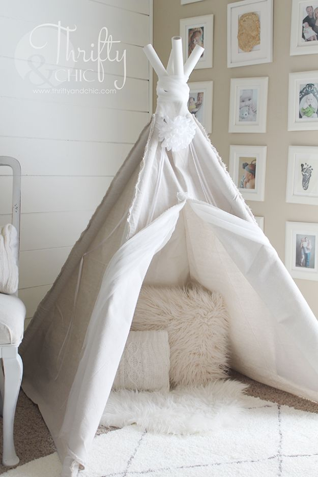 DIY Playroom Ideas and Furniture - Drop Cloth TeePee - Easy Play Room Storage, Furniture Ideas for Kids, Playtime Rugs and Activity Mats, Shelving, Toy Boxes and Wall Art - Cute DIY Room Decor for Boys and Girls - Fun Crafts with Step by Step Tutorials and Instructions http://diyjoy.com/diy-playroom-ideas