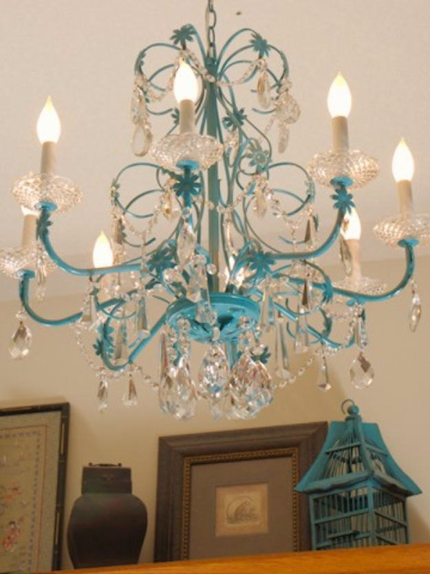 Diy Chandelier Makeovers Turquoise Redo Easy Ideas For Old Brass Crystal And