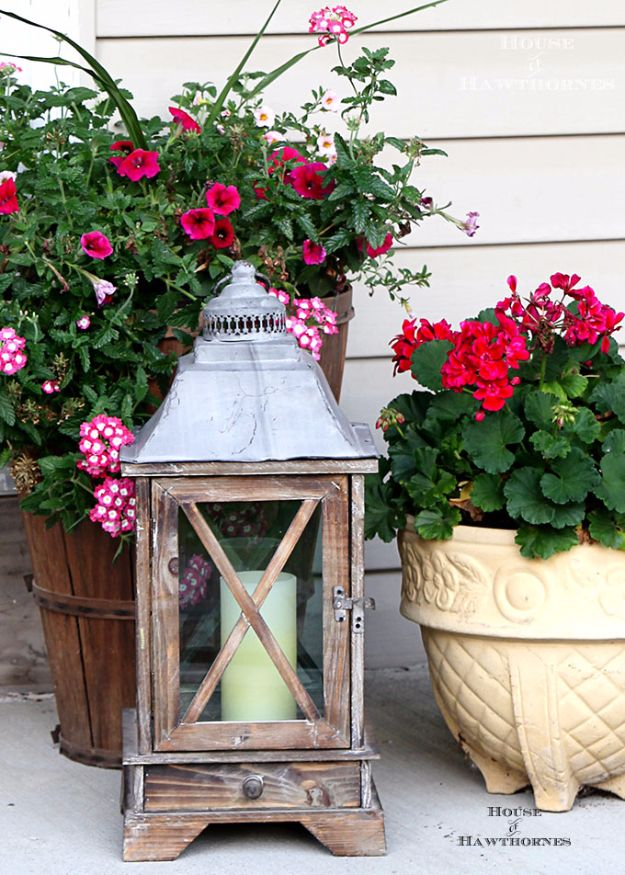 DIY Porch and Patio Ideas - Wooden Porch Lantern - Decor Projects and Furniture Tutorials You Can Build for the Outdoors - Lights and Lighting, Mason Jar Crafts, Rocking Chairs, Wreaths, Swings, Bench, Cushions, Chairs, Daybeds and Pallet Signs http://diyjoy.com/diy-porch-patio-decor