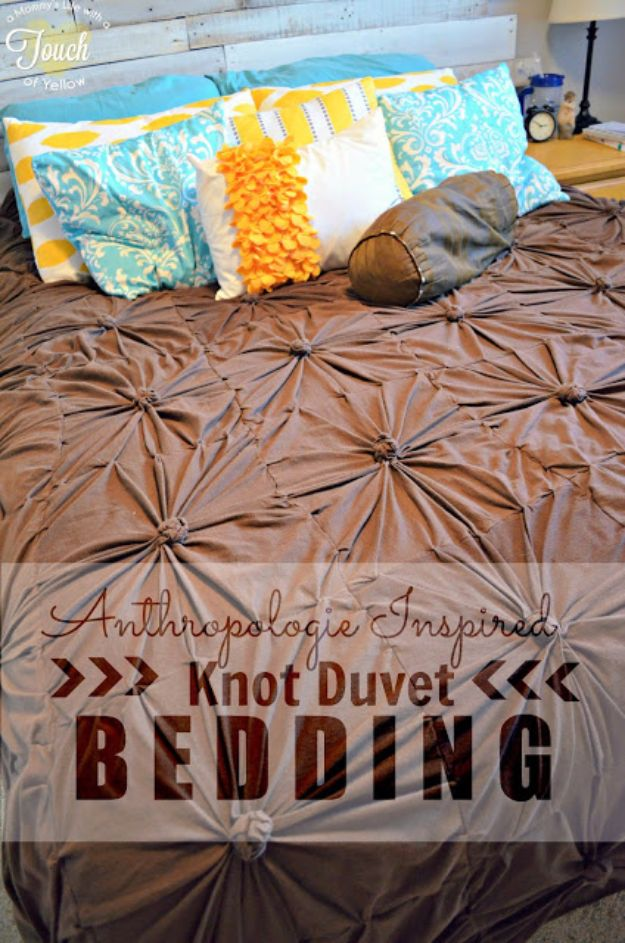 DIY Duvet Covers - Anthropologie Inspired Knot Bedding Duvet - Easy Sewing Projects and No Sew Ideas for Duvets - Cheap Bedroom Decor Ideas on A Budget - How To Sew A Duvet Cover and Bedding Tutorial - Creative Covers for Bed - Quick Projects for Making Designer Duvets - Awesome Home Decor Ideas and Crafts http://diyjoy.com/diy-duvet-covers