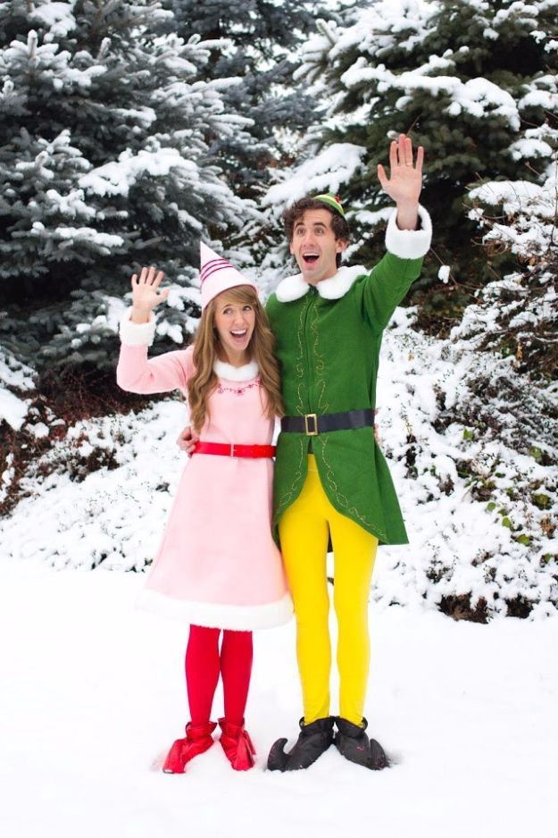 DIY Halloween Costumes for Couples - Buddy the ELF and Jovie Movie Character Couples Costume DIY - Funny, Creative and Scary Ideas for Parties, College Party - Unique and Cute Project Idea for Disney Characters, Superhero, Movie Themes, Bonnie and Clyde, Homemade Costume Projects for Boyfriends - Quick Last Minutes Halloween Costume Ideas from Pinterest http://diyjoy.com/best-halloween-costumes-couples