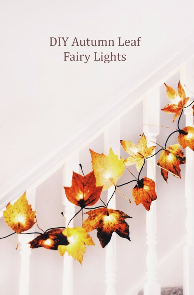 Best Crafts for Fall - DIY Autumn Leaf Fairy Lights - DIY Mason Jar Ideas, Dollar Store Crafts, Rustic Pumpkin Ideas, Wreaths, Candles and Wall Art, Centerpieces, Wedding Decorations, Homemade Gifts, Craft Projects with Leaves, Flowers and Burlap, Painted Art, Candles and Luminaries for Cool Home Decor - Quick and Easy Projects With Step by Step Tutorials and Instructions http://diyjoy.com/best-crafts-for-fall