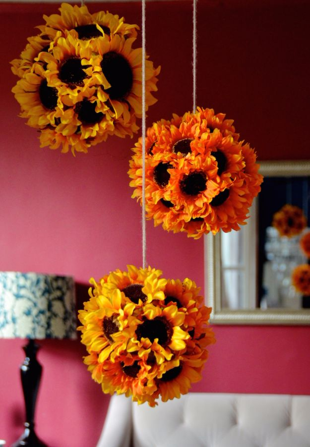 Best Crafts for Fall - DIY Hanging Sunflower Pendants - DIY Mason Jar Ideas, Dollar Store Crafts, Rustic Pumpkin Ideas, Wreaths, Candles and Wall Art, Centerpieces, Wedding Decorations, Homemade Gifts, Craft Projects with Leaves, Flowers and Burlap, Painted Art, Candles and Luminaries for Cool Home Decor - Quick and Easy Projects With Step by Step Tutorials and Instructions http://diyjoy.com/best-crafts-for-fall