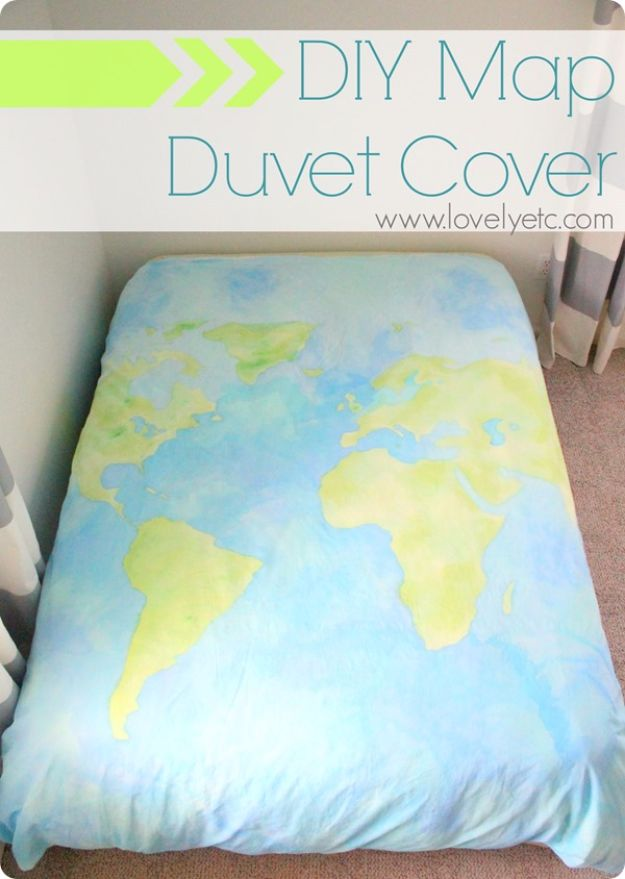 DIY Duvet Covers - DIY Map Duvet Cover - Easy Sewing Projects and No Sew Ideas for Duvets - Cheap Bedroom Decor Ideas on A Budget - How To Sew A Duvet Cover and Bedding Tutorial - Creative Covers for Bed - Quick Projects for Making Designer Duvets - Awesome Home Decor Ideas and Crafts http://diyjoy.com/diy-duvet-covers