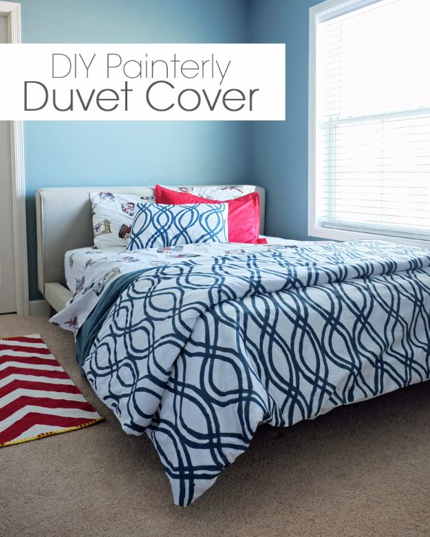 DIY Duvet Covers - DIY Painterly Duvet Cover - Easy Sewing Projects and No Sew Ideas for Duvets - Cheap Bedroom Decor Ideas on A Budget - How To Sew A Duvet Cover and Bedding Tutorial - Creative Covers for Bed - Quick Projects for Making Designer Duvets - Awesome Home Decor Ideas and Crafts http://diyjoy.com/diy-duvet-covers