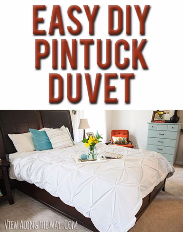DIY Duvet Covers - DIY Pintuck Duvet - Easy Sewing Projects and No Sew Ideas for Duvets - Cheap Bedroom Decor Ideas on A Budget - How To Sew A Duvet Cover and Bedding Tutorial - Creative Covers for Bed - Quick Projects for Making Designer Duvets - Awesome Home Decor Ideas and Crafts http://diyjoy.com/diy-duvet-covers
