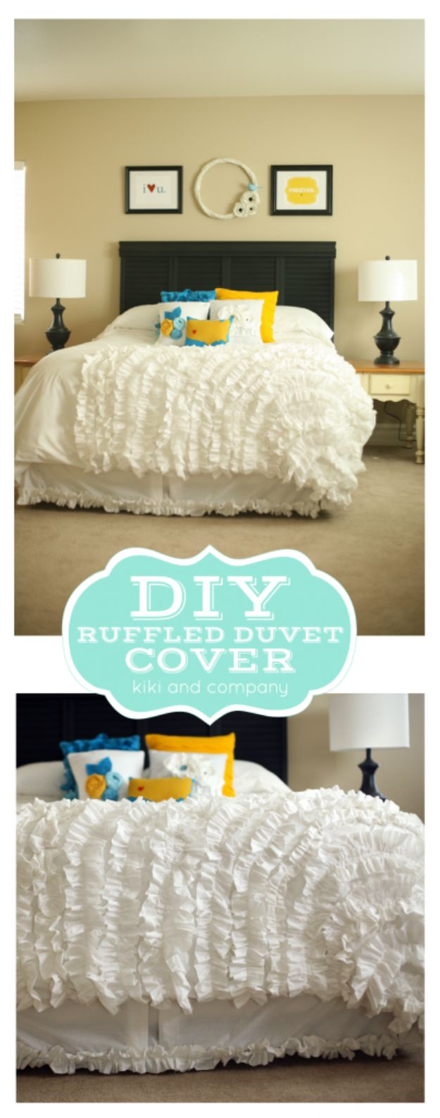 DIY Duvet Covers - DIY Ruffled Duvet Cover - Easy Sewing Projects and No Sew Ideas for Duvets - Cheap Bedroom Decor Ideas on A Budget - How To Sew A Duvet Cover and Bedding Tutorial - Creative Covers for Bed - Quick Projects for Making Designer Duvets - Awesome Home Decor Ideas and Crafts http://diyjoy.com/diy-duvet-covers