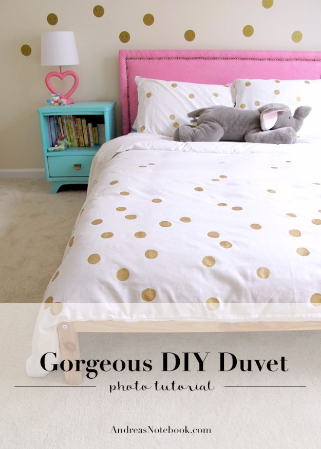 DIY Duvet Covers - Easy Painted Dot Duvet DIY - Easy Sewing Projects and No Sew Ideas for Duvets - Cheap Bedroom Decor Ideas on A Budget - How To Sew A Duvet Cover and Bedding Tutorial - Creative Covers for Bed - Quick Projects for Making Designer Duvets - Awesome Home Decor Ideas and Crafts http://diyjoy.com/diy-duvet-covers