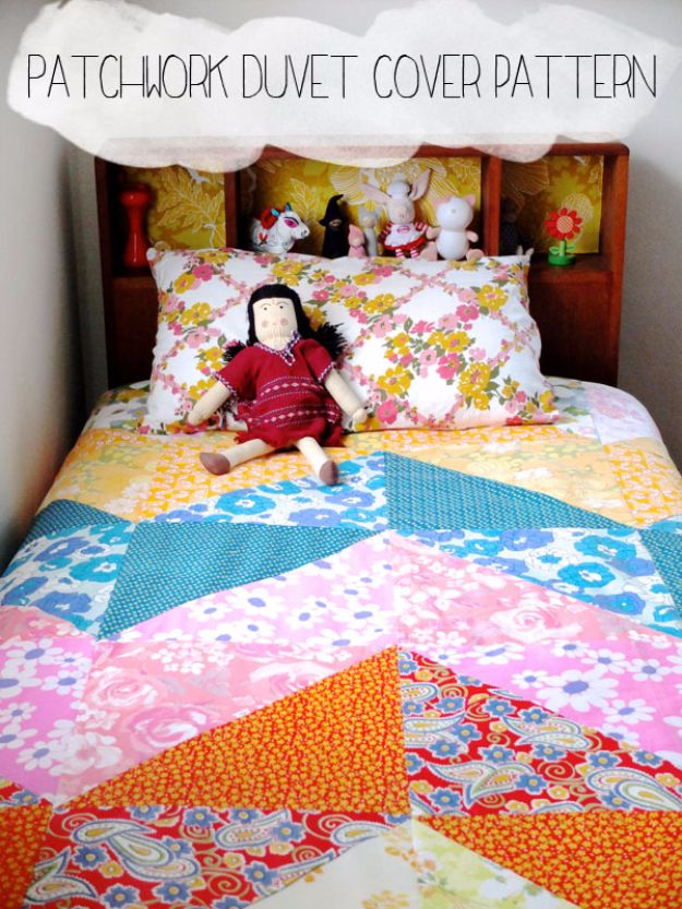 DIY Duvet Covers - Patchwork Duvet Cover Pattern - Easy Sewing Projects and No Sew Ideas for Duvets - Cheap Bedroom Decor Ideas on A Budget - How To Sew A Duvet Cover and Bedding Tutorial - Creative Covers for Bed - Quick Projects for Making Designer Duvets - Awesome Home Decor Ideas and Crafts http://diyjoy.com/diy-duvet-covers