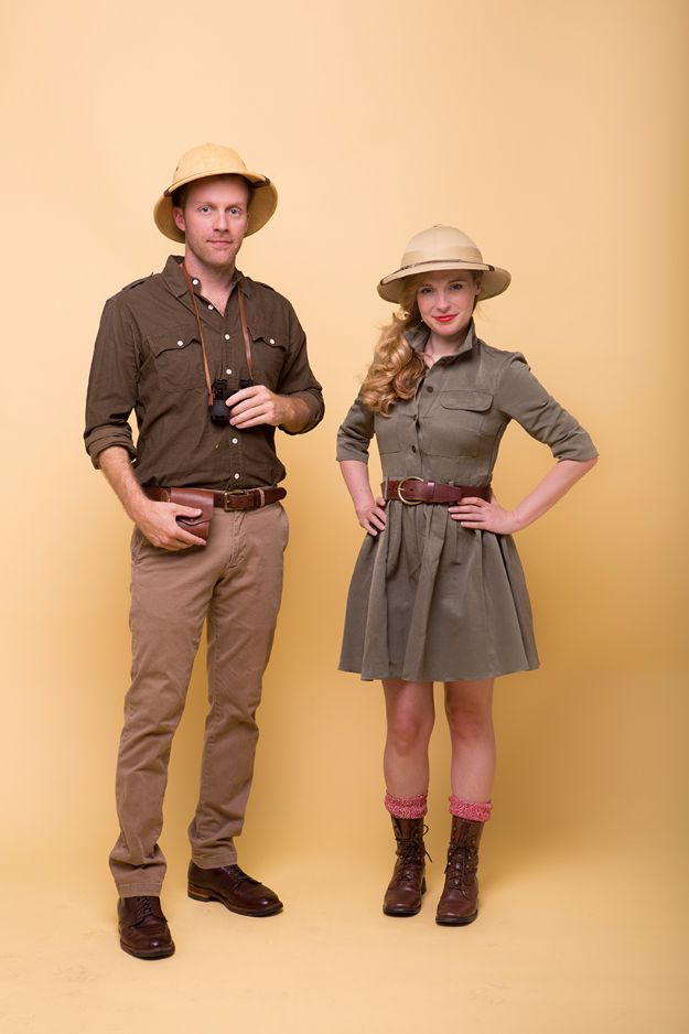 DIY Halloween Costumes for Couples - Safari Couple's Costume - Funny, Creative and Scary Ideas for Parties, College Party - Unique and Cute Project Idea for Disney Characters, Superhero, Movie Themes, Bonnie and Clyde, Homemade Costume Projects for Boyfriends - Quick Last Minutes Halloween Costume Ideas from Pinterest http://diyjoy.com/best-halloween-costumes-couples
