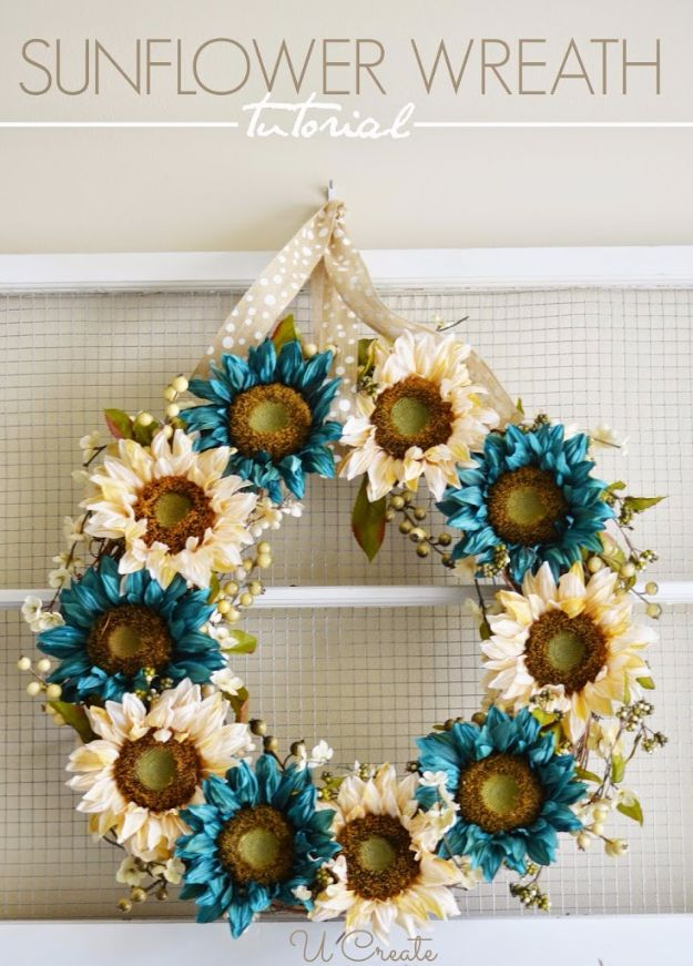 Best Crafts for Fall - Sunflower Wreath - DIY Mason Jar Ideas, Dollar Store Crafts, Rustic Pumpkin Ideas, Wreaths, Candles and Wall Art, Centerpieces, Wedding Decorations, Homemade Gifts, Craft Projects with Leaves, Flowers and Burlap, Painted Art, Candles and Luminaries for Cool Home Decor - Quick and Easy Projects With Step by Step Tutorials and Instructions http://diyjoy.com/best-crafts-for-fall