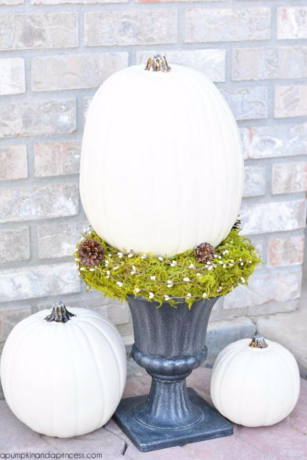 Best Crafts for Fall - White Pumpkin Topiary - DIY Mason Jar Ideas, Dollar Store Crafts, Rustic Pumpkin Ideas, Wreaths, Candles and Wall Art, Centerpieces, Wedding Decorations, Homemade Gifts, Craft Projects with Leaves, Flowers and Burlap, Painted Art, Candles and Luminaries for Cool Home Decor - Quick and Easy Projects With Step by Step Tutorials and Instructions http://diyjoy.com/best-crafts-for-fall