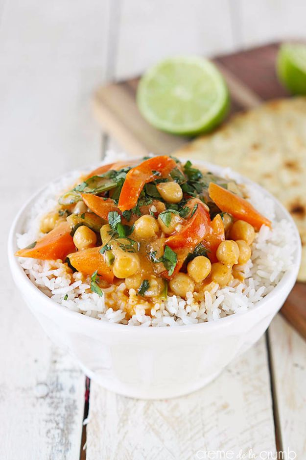 Easy Dinner Ideas for Two - 20 Minute Chickpea Curry - Quick, Fast and Simple Recipes to Make for Two People - Freeze and Make Ahead Dinner Recipe Tips for Best Weeknight Dinners - Chicken, Fish, Vegetable, No Bake and Vegetarian Options - Crockpot, Microwave, Healthy, Lowfat Options http://diyjoy.com/easy-dinners-for-two