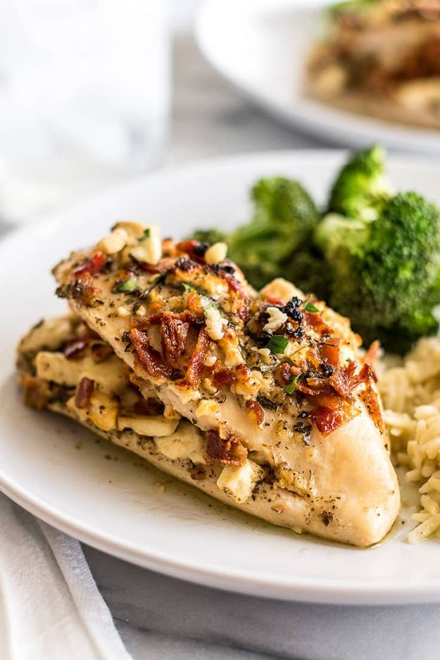 Easy Dinner Ideas for Two - Bacon and Feta Stuffed Chicken Breast - Quick, Fast and Simple Recipes to Make for Two People - Freeze and Make Ahead Dinner Recipe Tips for Best Weeknight Dinners - Chicken, Fish, Vegetable, No Bake and Vegetarian Options - Crockpot, Microwave, Healthy, Lowfat Options http://diyjoy.com/easy-dinners-for-two