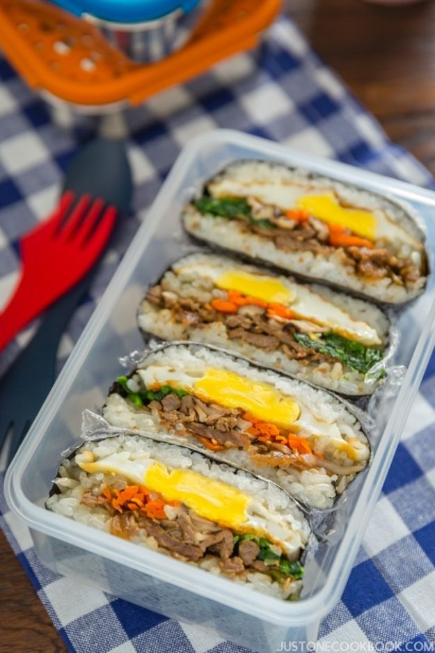 Back to School Lunch Ideas - Bulgogi Onigirazu - Quick Snacks, Lunches and Homemade Lunchables - Bento Box Style Lunch for People in A Hurry - Fast Lunch Recipes to Pack Ahead - Healthy Ideas for Kids, Teens and Adults http://diyjoy.com/back-to-school-lunches