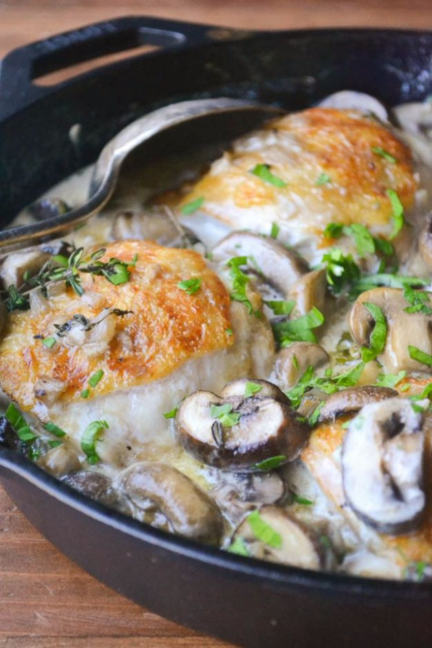 Easy Dinner Ideas for Two - Chicken Thighs Marsala for Two - Quick, Fast and Simple Recipes to Make for Two People - Freeze and Make Ahead Dinner Recipe Tips for Best Weeknight Dinners - Chicken, Fish, Vegetable, No Bake and Vegetarian Options - Crockpot, Microwave, Healthy, Lowfat Options http://diyjoy.com/easy-dinners-for-two
