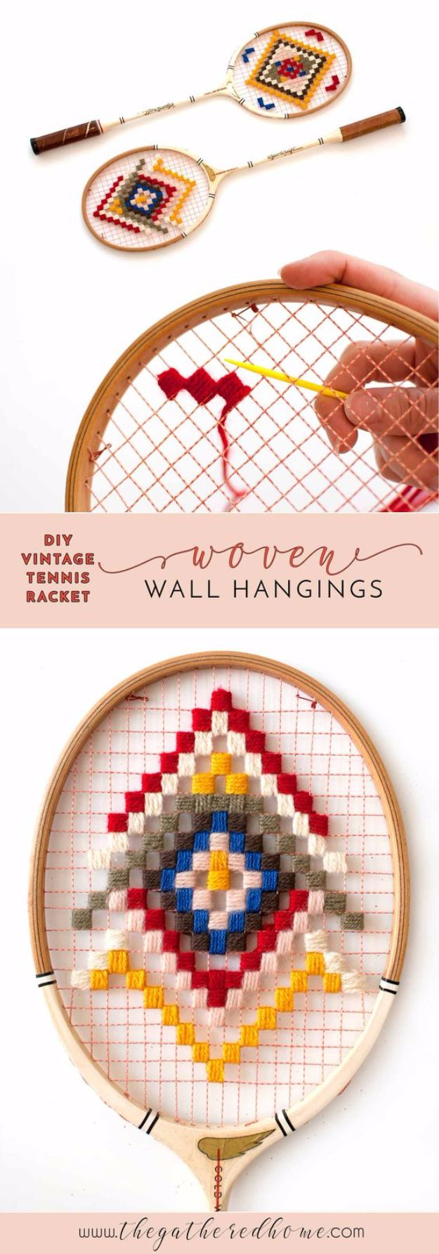 DIY Ideas With Yarn and Best Yarn Crafts - DIY Vintage Tennis Racket Wall Hangings - Wall Hangings, Easy Dream Catchers, Crochet Ideas for Teens, Adults and Kids - Knitting , No Sew and Weaving Projects Make Awesome Wall Art and Home Decor on A Budget http://diyjoy.com/diy-ideas-yarn