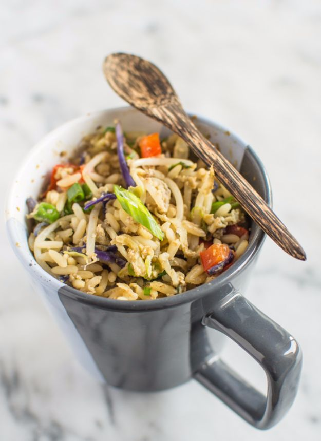 Easy Dinner Ideas for One - Egg Fried Rice In A Mug - Quick, Fast and Simple Recipes to Make for a Single Person - Freeze and Make Ahead Dinner Recipe Tips for Best Weeknight Dinners for Singles - Chicken, Fish, Vegetable, No Bake and Vegetarian Options - Crockpot, Microwave, Healthy, Lowfat Options http://diyjoy.com/easy-dinners-for-one