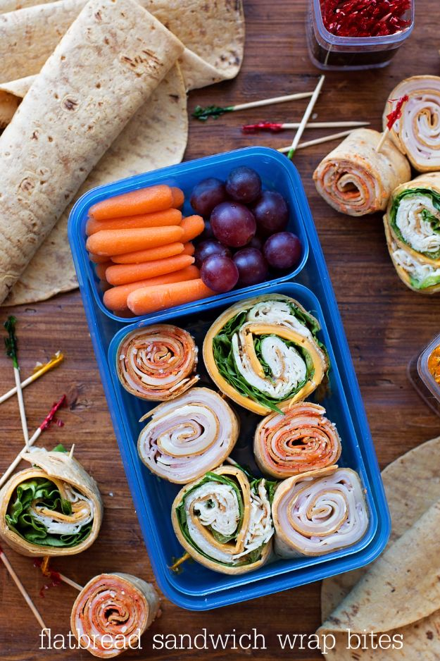Back to School Lunch Ideas - Flatbread Wrap Bites - Quick Snacks, Lunches and Homemade Lunchables - Bento Box Style Lunch for People in A Hurry - Fast Lunch Recipes to Pack Ahead - Healthy Ideas for Kids, Teens and Adults http://diyjoy.com/back-to-school-lunches