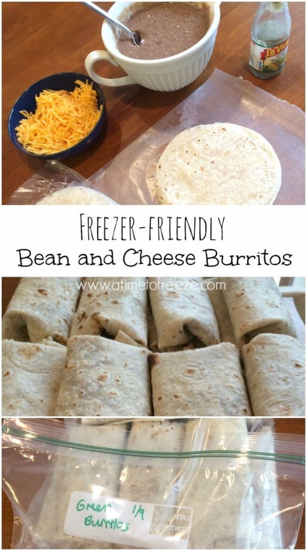 Back to School Lunch Ideas - Freezer-friendly Bean and Cheese Burritos - Quick Snacks, Lunches and Homemade Lunchables - Bento Box Style Lunch for People in A Hurry - Fast Lunch Recipes to Pack Ahead - Healthy Ideas for Kids, Teens and Adults http://diyjoy.com/back-to-school-lunches