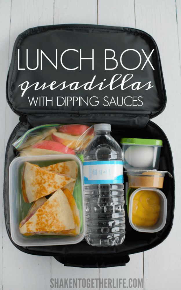 Back to School Lunch Ideas - Lunch Box Quesadillas With Dipping Sauces - Quick Snacks, Lunches and Homemade Lunchables - Bento Box Style Lunch for People in A Hurry - Fast Lunch Recipes to Pack Ahead - Healthy Ideas for Kids, Teens and Adults http://diyjoy.com/back-to-school-lunches