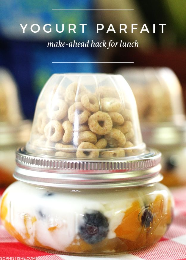 Back to School Lunch Ideas - Make Ahead Yogurt Parfait - Quick Snacks, Lunches and Homemade Lunchables - Bento Box Style Lunch for People in A Hurry - Fast Lunch Recipes to Pack Ahead - Healthy Ideas for Kids, Teens and Adults http://diyjoy.com/back-to-school-lunches