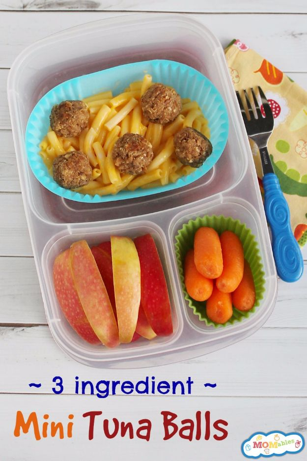 Back to School Lunch Ideas - Mini Tuna Balls - Quick Snacks, Lunches and Homemade Lunchables - Bento Box Style Lunch for People in A Hurry - Fast Lunch Recipes to Pack Ahead - Healthy Ideas for Kids, Teens and Adults http://diyjoy.com/back-to-school-lunches