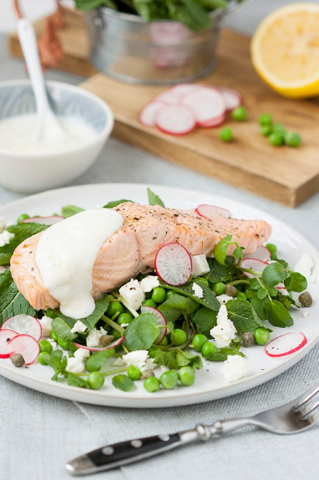 Easy Dinner Ideas for One - Poached Salmon, Peas, Feta With Mint And Yogurt Dressing - Quick, Fast and Simple Recipes to Make for a Single Person - Freeze and Make Ahead Dinner Recipe Tips for Best Weeknight Dinners for Singles - Chicken, Fish, Vegetable, No Bake and Vegetarian Options - Crockpot, Microwave, Healthy, Lowfat Options http://diyjoy.com/easy-dinners-for-one