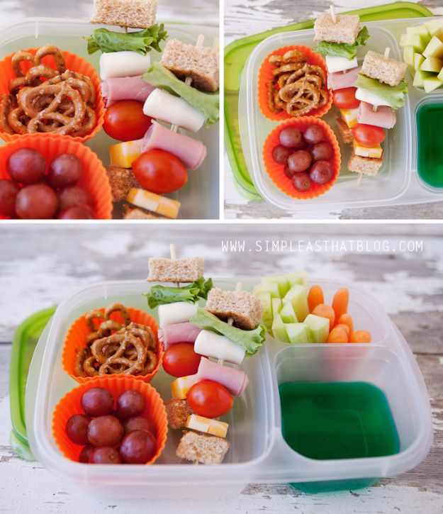 Back to School Lunch Ideas - Sandwich Kabobs - Quick Snacks, Lunches and Homemade Lunchables - Bento Box Style Lunch for People in A Hurry - Fast Lunch Recipes to Pack Ahead - Healthy Ideas for Kids, Teens and Adults http://diyjoy.com/back-to-school-lunches