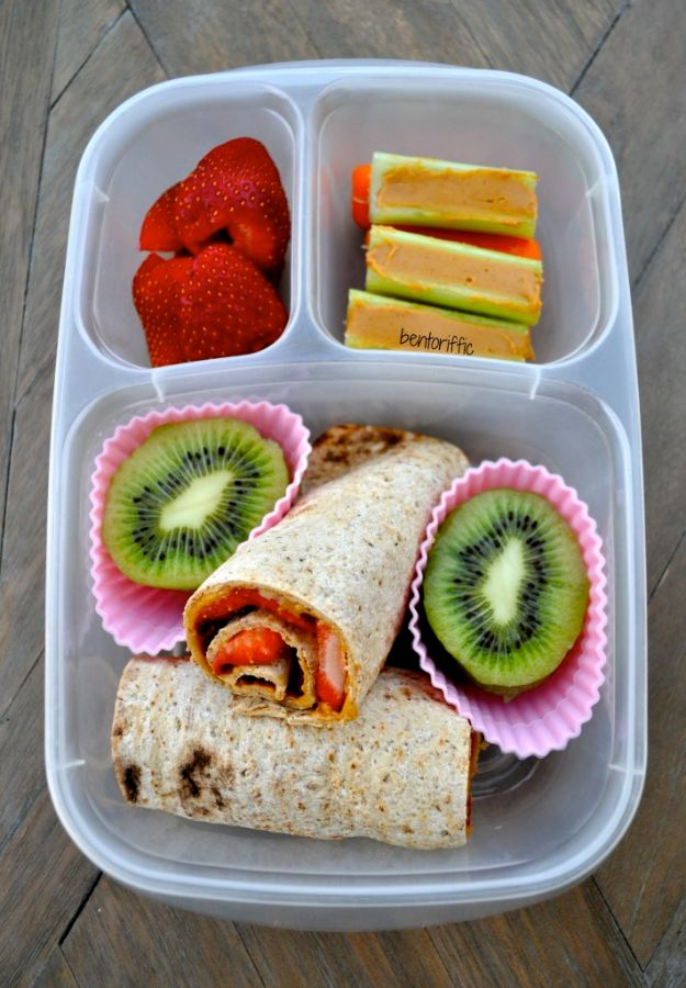 Back to School Lunch Ideas - Strawberry Roll-Ups - Quick Snacks, Lunches and Homemade Lunchables - Bento Box Style Lunch for People in A Hurry - Fast Lunch Recipes to Pack Ahead - Healthy Ideas for Kids, Teens and Adults http://diyjoy.com/back-to-school-lunches