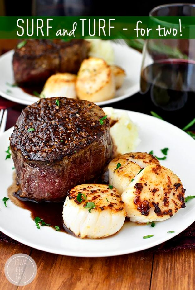 Easy Dinner Ideas for Two - Surf and Turf for Two - Quick, Fast and Simple Recipes to Make for Two People - Freeze and Make Ahead Dinner Recipe Tips for Best Weeknight Dinners - Chicken, Fish, Vegetable, No Bake and Vegetarian Options - Crockpot, Microwave, Healthy, Lowfat Options http://diyjoy.com/easy-dinners-for-two