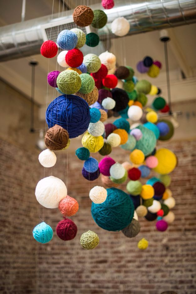 DIY Ideas With Yarn and Best Yarn Crafts - Yarn Ball Chandelier - Wall Hangings, Easy Dream Catchers, Crochet Ideas for Teens, Adults and Kids - Knitting , No Sew and Weaving Projects Make Awesome Wall Art and Home Decor on A Budget http://diyjoy.com/diy-ideas-yarn