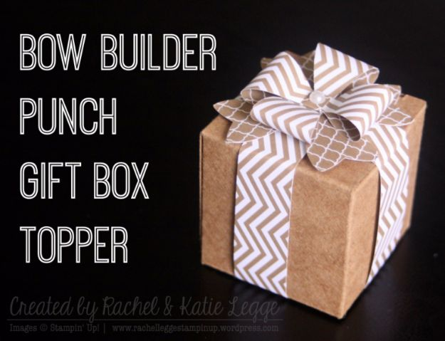 Creative Bows For Packages - Bow Punch Gift Box Topper - Make DIY Bows for Christmas Presents and Holiday Gifts - Cute and Easy Ideas for Making Your Own Bows and Ribbons - Step by Step Tutorials and Instructions for Tying A Bow - Cheap and Crafty Gift Wrapping Ideas on A Budget http://diyjoy.com/diy-bows-gifts-packages