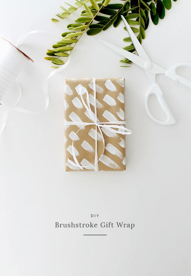 Cool Gift Wrapping Ideas - Brushstroke Gift Wrap - Creative Ways To Wrap Presents on A Budget - Best Christmas Gift Wrap Ideas - How To Make Gift Bags, Reuse Wrapping Paper, Make Bows and Tags - Cute and Easy Ideas for Wrapping Gifts for the Holidays - Step by Step Instructions and Photo Tutorials http://diyjoy.com/gift-wrapping-tutorials