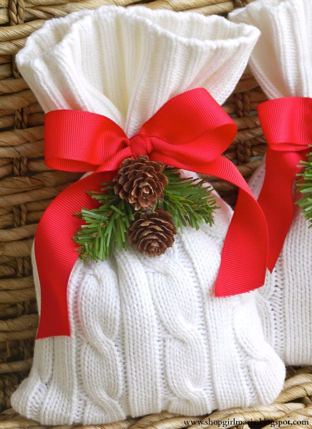Cool Gift Wrapping Ideas - Cozy Gift Bag From An Old Sweater - Creative Ways To Wrap Presents on A Budget - Best Christmas Gift Wrap Ideas - How To Make Gift Bags, Reuse Wrapping Paper, Make Bows and Tags - Cute and Easy Ideas for Wrapping Gifts for the Holidays - Step by Step Instructions and Photo Tutorials http://diyjoy.com/gift-wrapping-tutorials