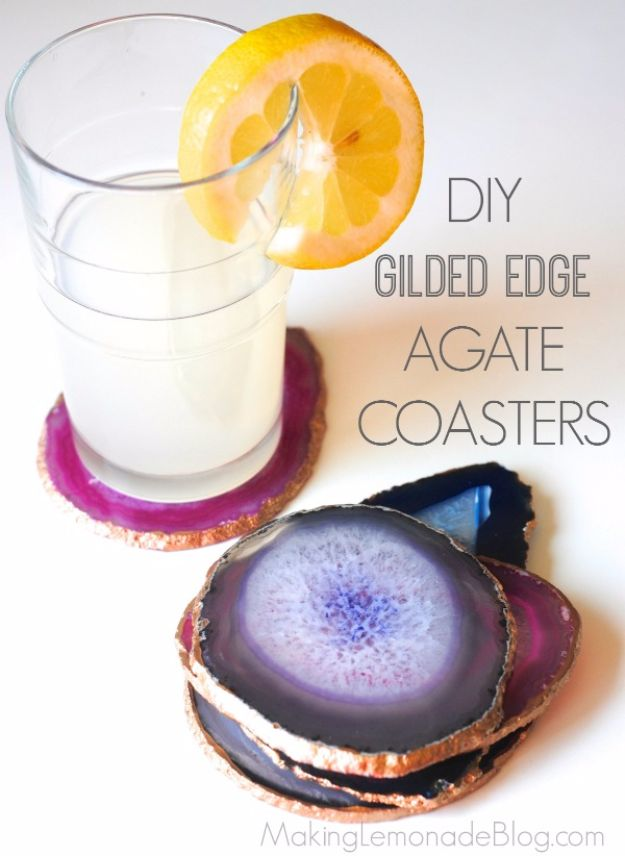Cool Gifts to Make For Mom - DIY Gilded Edge Agate Coasters - DIY Gift Ideas and Christmas Presents for Your Mother, Mother-In-Law, Grandma, Stepmom - Creative , Holiday Crafts and Cheap DIY Gifts for The Holidays - Thoughtful Homemade Spa Day Gifts, Creative Wall Art, Special Ideas for Her - Easy Xmas Gifts to Make With Step by Step Tutorials and Instructions http://diyjoy.com/cool-gifts-for-mom